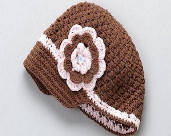 Crochet Newsgirl Beanie with Removable Flower girl's hat, girl's beanie, crochet beanie, crochet hat, newsgirl baby hat, newsgirl hat