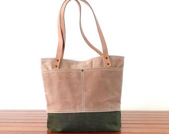 Free Express Shipping Tan Tote Bag bottom Army Green Waxed canvas    Tan  Leather-  Shoulder bag / Tote Bag / Diaper Bag /School bag