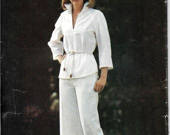 Vintage Womens Shirt and Pants Pattern, Butterfly Collar Shirt, Wide Leg Pants, Three Quarter Length Sleeves, Size 16, Bust 38 Inches