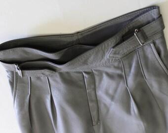 Vintage Grey Leather Trousers-Skinny Leg High Waist Pants-Genuine Leather-Punk- soft leather leggings-Rockabilly-belt-spray on 26 Waist tall