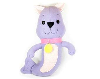 Mermaid Cat Plush, Mer-cat Plush Toy, Mermaid Cat Plushie, Purple Cat, Mermaid Gifts, Cute pink mermaid animal, purrmaid, Kitty Cat