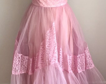 Vintage 1950s Pastel Pink Tulle Strapless Formal Prom Dress Petite XXS