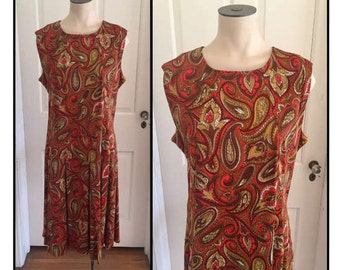 Vintage 1960s Misses' Sleeveless Orange & Brown Paisley Dress 10 12