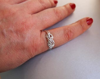 "Simple Promise Ring, Silver Infinity Ring, Best Friends, Adjustable or Non-Adjustable,  "" With Only a Rope """