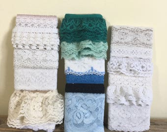 Assorted Lace Trim, Various Trim ends of Lace, craft, sewing, doll clothes
