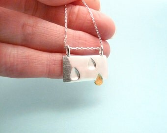 Silver and Gold Raindrops Necklace