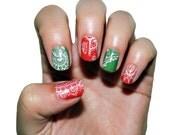 Christmas Lace Nail Polish Strips. Christmas Nail Wraps.