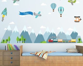 Mountain Decal, Mountain Scene Decal, Boys Plane Decal, Kids Wall Decals Ecofriendly No Toxins No PVCs Decals, WDm471