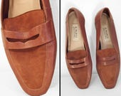Chestnut Brown LOAFERS 1990s Enzo Angiolini Women's US Size 8.5 M Preppy Penny Style Slip Ons