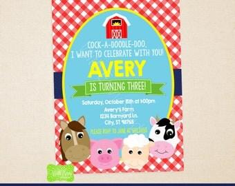 Farm Party Invitation - Farm Birthday Invite - Farm Thank You Card - Barnyard Invitation - Digital and Printed Available
