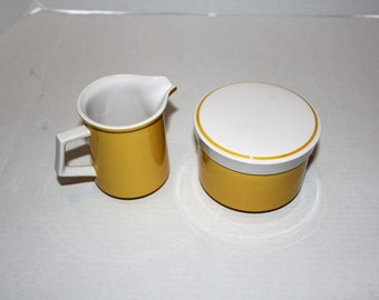 Mikasa Light N Lively Happy Creamer and Sugar Bowl 1970s Flower Power Dinnerware Vintage Retro White and Yellow Gold
