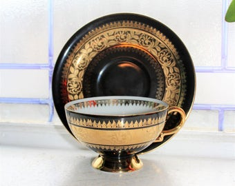 Vintage RW Bavaria Bone China Teacup and Saucer Black and Gold