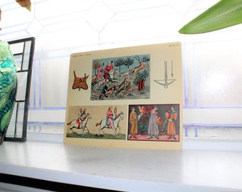 Middle Ages Hunting Card 1930s Comptons Picture Teaching Unit