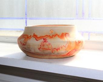 Nemadji Pottery Hanging Planter Vintage Handmade Swirl Pottery