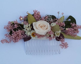 Floral Hair Comb Pink Dried Flowers For Wedding or Prom