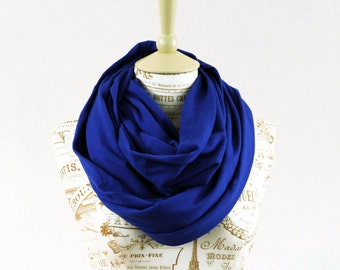 Royal Blue Infinity Scarf, Circle Scarf, Blue Scarf, Jersey Scarf, Sister Gift for Her, Womens Mens Scarves, Girlfriend Gift Spring Scarf