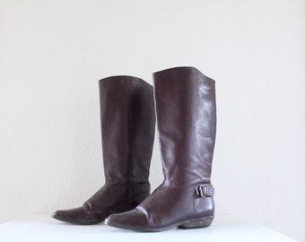 Vintage 70's Raisin Leather Campus Boots
