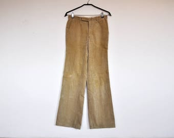 Vintage Tan Corduroy Preppy Pants Hipster Western High Waist Trousers Size Small