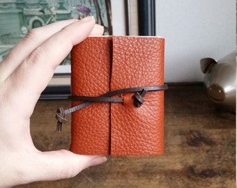 Leather Journal, Orange Hand-Bound 3 x 3.5 Journals by The Orange Windmill 1805
