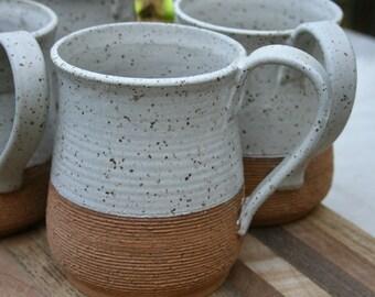 large rustic mug, stoneware pint mug, speckled stoneware cups, farmhouse pottery, matte white, set of mugs, coffee cups, wedding registry