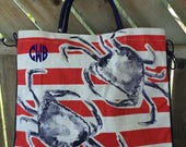 Beach Tote, Large Jute Tote, Crab Tote, 4th of July Tote, Red, White and Blue Tote, Vacation Bags, Monogrammed Totes