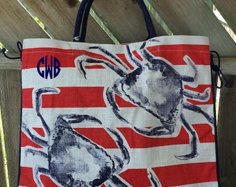 3 Beach Totes, Large Jute Tote, Crab Tote, 4th of July Tote, Red, White and Blue Tote, Vacation Bags, Monogrammed Totes