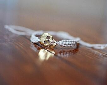 Gold Skull Bracelet Macrame in Beige