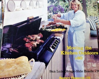 Sunset Magazine September 1986, San Luis Obispo, outdoor kitchens, Petaluma, penstemons,  watering cans, chow chow, savory desserts