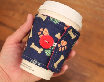 Fabric Coffee Cozy, Cotton Cozie, Dog, Puppy, Coffee Sleeve, travel cup cozy, dog mom gift, hostess gift, Iced coffee, starbucks