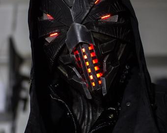 Pre-order for August 2017 - Erebus original design full overhead mask/helmet w/ neck guard - custom made-to-order original LED sci-fi helm