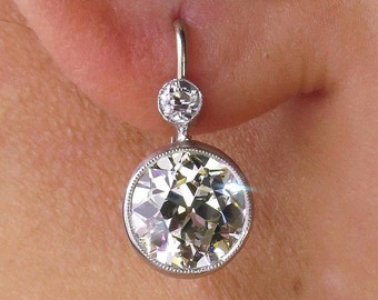 Art Deco 4.25ct Old European cut Diamond Drop Hanging SOLITAIRE EARRINGS in Platinum