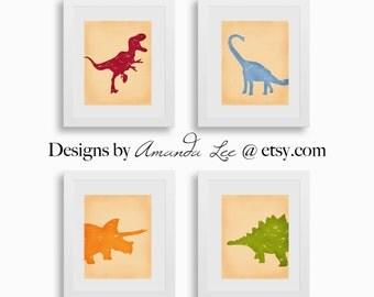 Dinosaur Art Print - Set of four 8x10 - TRex Triceratops Stegosaurus Designer Set 11