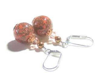 Venetian Glass Coral Silver Earrings, Sterling Silver Leverbacks, Italian Jewelry, Murano Glass Jewelry, Orange Copper Lampwork Earrings