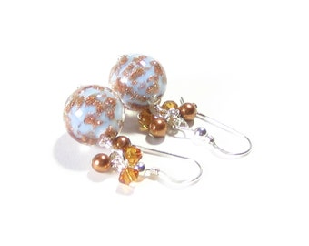 Murano Glass Blue Copper Crystal Dangle Ball Earrings, Leverback Earrings, Sterling Silver Clip-ons, Venetian Glass Jewelry