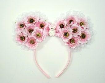Mouse Headband-Mouse Costume-Mouse Ears-Flower Headband-Lolita-Mouse Headband-Harajuku-Gift For Her-Mouse Ears-Fairy Kei-Kawaii