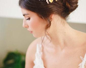 Arabella Statement Botanical Bridal Headpiece, Gold Bridal Headpiece, Leaf Bridal Headpiece, Gold Bridal Hair Comb, Gold Wedding Hair Comb