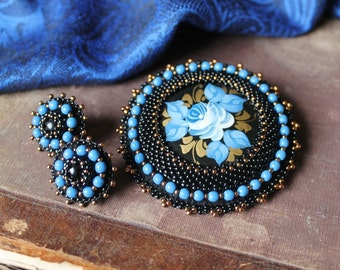 Beaded Flower Brooch Folk style Brooch Russian Jewelry Beadwork Brooch Blue Black Brooch Hand Painted Brooch Cabochon Brooch Embroidery