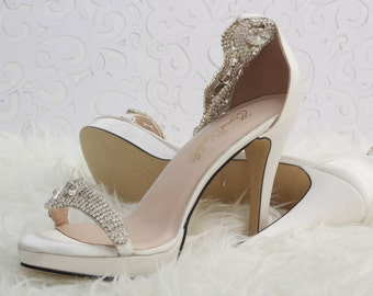 Wedding Heels, Bridal Heels, Bridal Bling Sandals, Satin Sandals, Custom Heels
