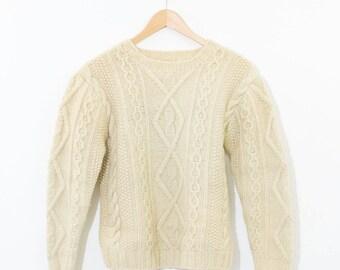 Vintage Ivory Wool Cable Knit Aran Jumper Sweater Small Medium