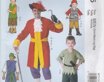 Men's Pirate Costume Pattern McCalls 7215 Sizes S, M, L, XL Uncut