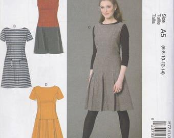 Drop Waist Jumper or Dress Pattern McCalls 7241 Sizes 14 - 22 Uncut