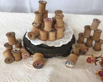 Antique 30 Empty Thread Spools. 30 Small Wood Thread Spools for Crafting.