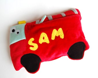 Boys personalized pillow, baby boy nursery, toddler boy gift,  plush firetruck, suffed car toy, personalized pajama bag, pajama eater