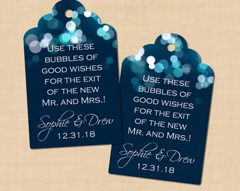 Midnight Blue Night Sky Scalloped Wedding Bubble Tags (1.25x2): Text-Editable in Word, Printable on Avery® 22848, Instant Download