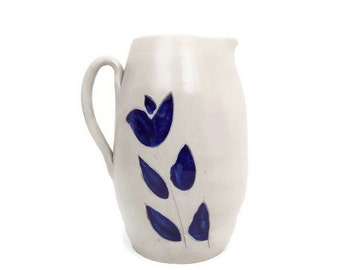Vintage Williamsburg Pottery Pitcher Salt Glazed Stoneware Colbalt Blue Design Floral Pattern Handled Jug Farmhouse Vase Made in USA