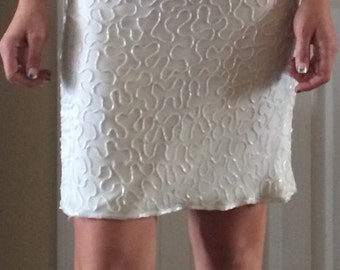 Gorgeous Vintage 80s Ivory and Gold Beaded Dress/ Mark & John by Sam/ Womens Medium