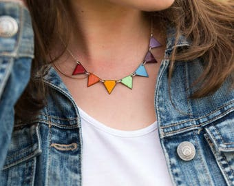 Colourful Necklace - rainbow necklace - colourful rainbow jewelry - enamel necklace - pride jewelry - summer bunting necklace