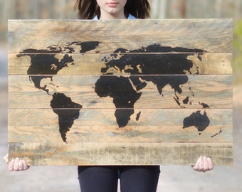 Large Wooden Wall Art wood world map | etsy