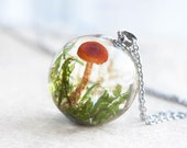 Whimsical Fungus Sphere Necklace - One-of-a-kind gift - Forest Lichen and Moss in clear resin - unusual necklace