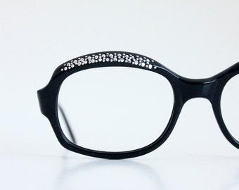 Vintage 60's French Black Rhinestone Cat Eye Eyeglasses